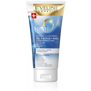 EVELINE -- FACEMED+ 8 IN 1 ACTIVE CLEANSING GEL + SCRUB + MASK 150ML